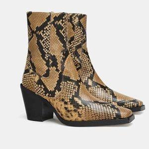 Zara leather snake boots